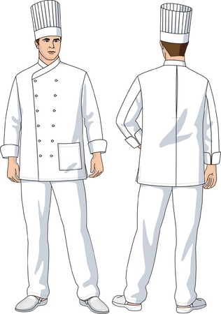 The suit of the cook consists of a jacket, trousers and a cap. Ilustração