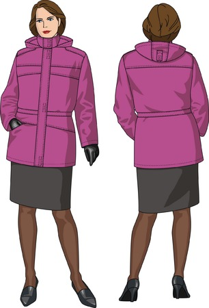 Jacket female warmed with pockets