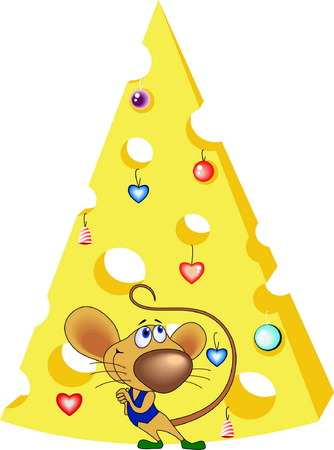 The rat has made a fur-tree of cheese, has dressed up its New Years toys and admires it.