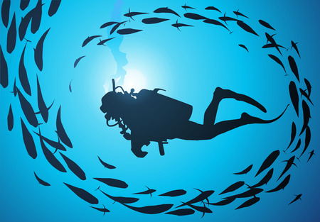 The diver is surrounded with a jamb of fishes