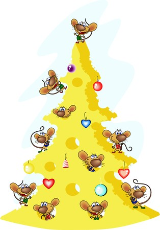 Rats have made a tree of cheese and have dressed up it as a New Year tree.
