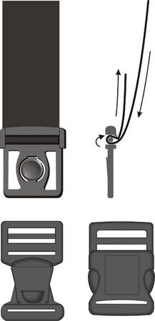 buckles: Three kinds of plastic buckles Illustration