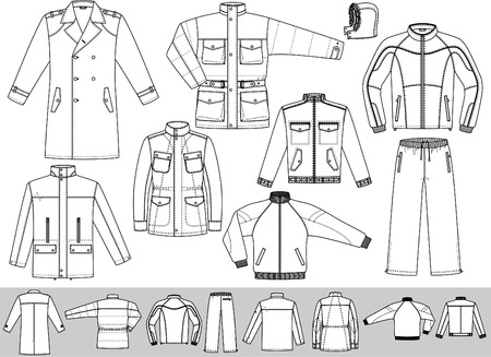 The clothes for men consist of a raincoat, a jacket and a sports suit.