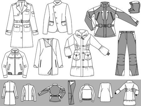 dress coat: Gli abiti per le donne composto da un impermeabile, una giacca e una tuta sportiva. Vettoriali