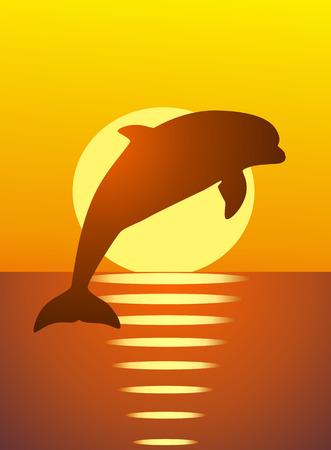El delfín salta fuera de agua contra una puesta de sol rojo