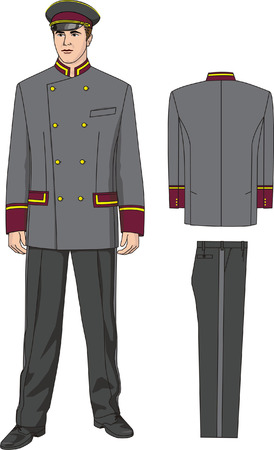 The suit of the door-keeper consists of a jacket, trousers and a peak-cap. Vector