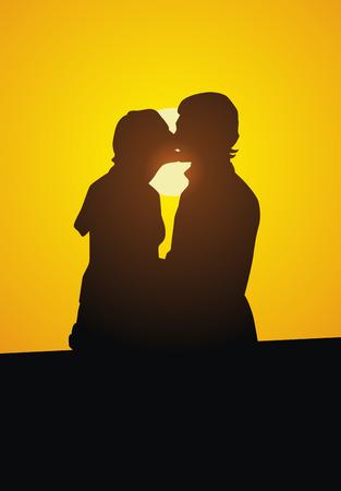 女と男、夕日に対してキスします。