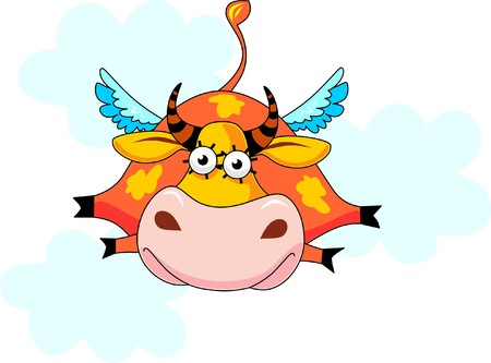 At a cow wings have grown and it flies on the sky. Stock Vector - 5544673
