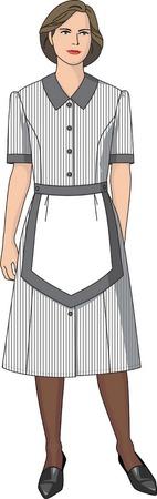 Office uniforms: El traje de la criada se compone de un vestido y un delantal.