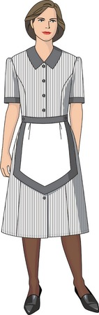 caretaker: The suit of the housemaid consists of a dress and an apron.