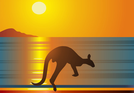 The kangaroo jumps against a red sunset Stock Vector - 5544683