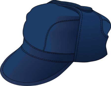 The cap has a peak and ears with outsets. Vector