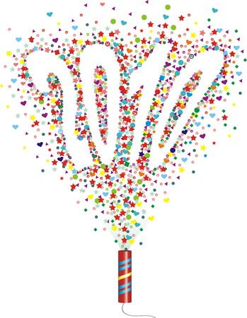 large group of objects: The confetti takes off from a cracker in the form of figures of new year