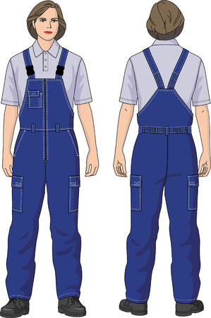 warmed: Overalls female warmed with pockets. Illustration