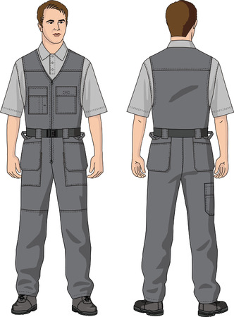 Overalls man's summer with pockets. Stock Vector - 5555795