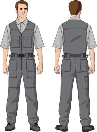 overalls: Overalls mans summer with pockets. Illustration