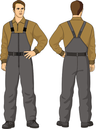 warmed: Overalls mans warmed with pockets Illustration
