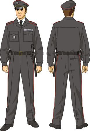 The protective suit of the security guard consists their jackets, trousers and a cap. Vector