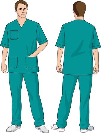 外科医のスーツ、ジャケットおよびズボン成っています。