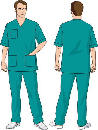 surgeon mask: El traje del cirujano consiste en una chaqueta y pantalones.  Vectores