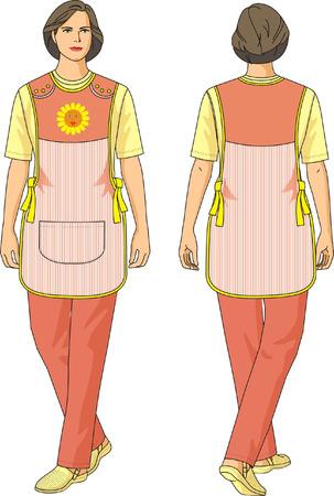 tutor: El traje de tutor de los ni�os consiste en un delantal, una camisa y pantalones.  Vectores