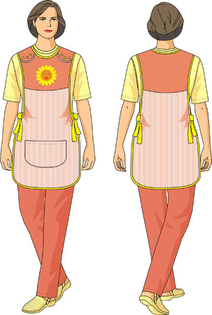 tutor: The suit of the childrens tutor consists of an apron, a shirt and trousers. Illustration