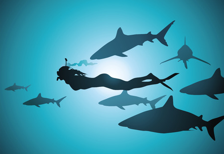 The diver-girl floats in an environment of spiteful sharks Vector