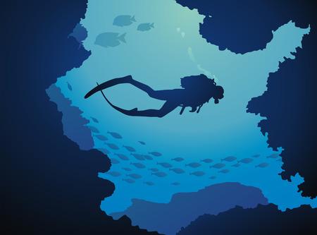 ダイバーは、魚の環境では穴に通すを介してフロートします。