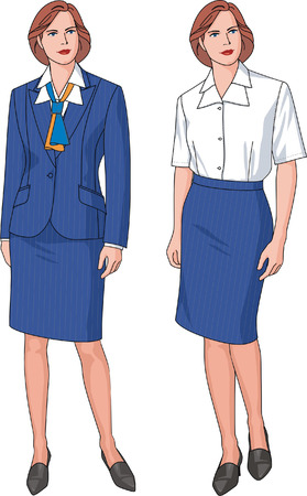 The business suit of the woman consists of a jacket, a blouse, a skirt and a scarf.
