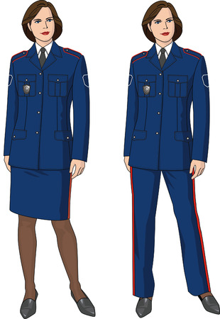 The woman in a suit of the security guard with epaulets. Vector