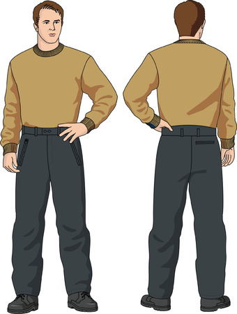 warmed: Trousers the mans warmed. Illustration