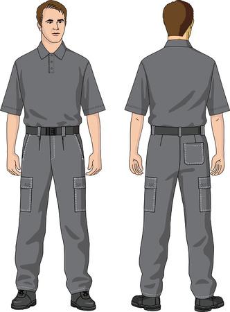 Hose: Hosen Mannes Sommer mit Taschen. Illustration