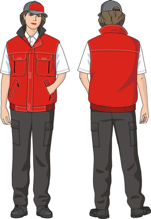 warmed: Waistcoat female warmed with pockets. Illustration
