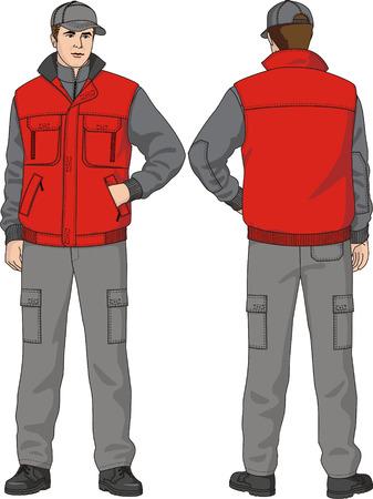 Waistcoat man's warmed with pockets. Ilustração