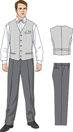 The suit of the waiter consists of a waistcoat, a shirt and trousers. Vector
