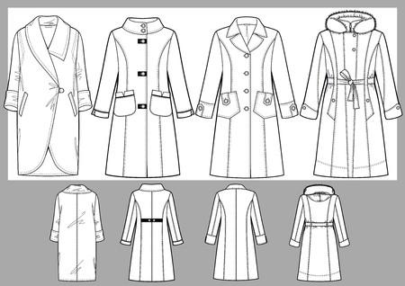 Vier verschillende modellen van de verwarmde vrouwelijke jassen