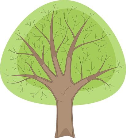 The green tree symbolises a human hand Vector