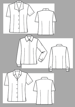 Three kinds of female blouses with various collars Stock Vector - 5851742