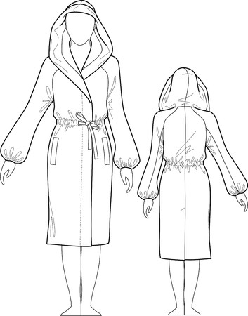 woman bathrobe: Dressing gown female with a hood, pockets and a belt