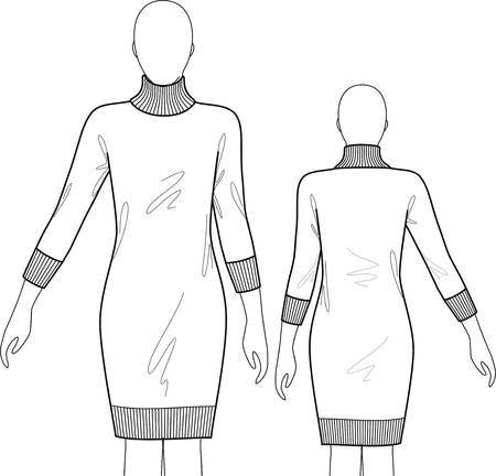 tunic: Dress female knitted with a collar