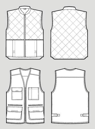 warm clothes: Two kinds of the various warmed waistcoat Illustration