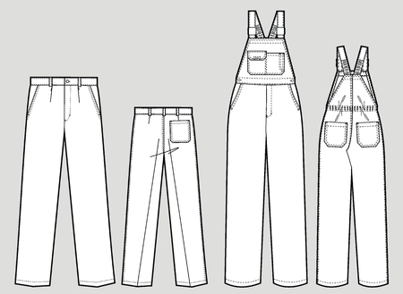 straps: Two kinds of trousers with pockets and shoulder straps Illustration