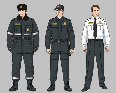 Winter and summer suits for the security guard Ilustração