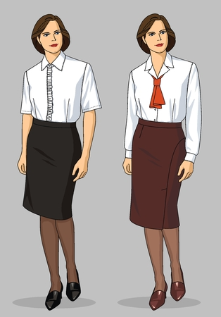 Two variants of female blouses and skirts Vector