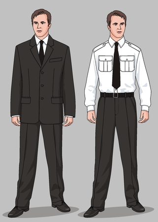 The suit man's consists of a jacket, trousers, a trousers and a necktie Stock Vector - 6189831