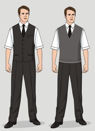 男性のスーツは、チョッキ、ズボン、シャツとネクタイから成っています。