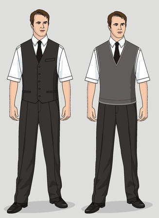The man's suit consists of a waistcoat, trousers, a shirt and a necktie