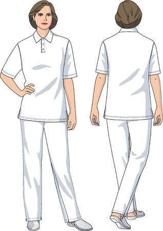 healthcare worker: The suit the female medical consists of a T-shirt and trousers