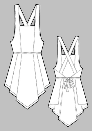 straps: Apron female with shoulder straps and pockets