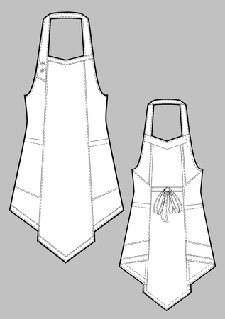 protective clothing: Apron female with shoulder straps and pockets